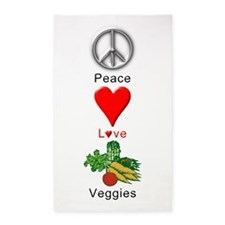 Peace Love Veggies 3'x5' Area Rug