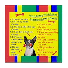 Boston Terrier Property Laws Tile Coaster