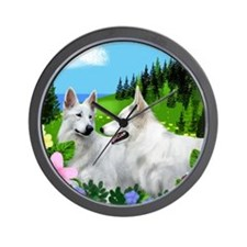White German Shepherd Dogs Wall Clock