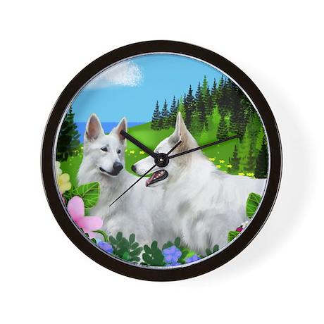 White German Shepherd Dogs Wall Clock