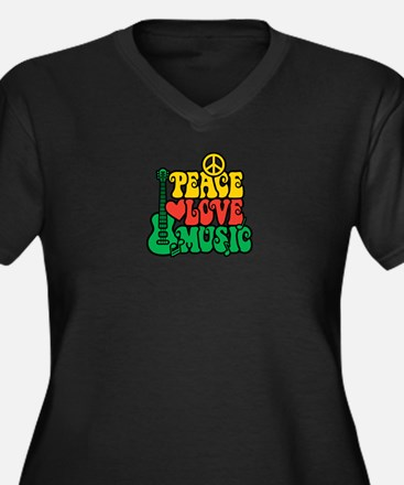 Reggae Peace Love Music Plus Size T-Shirt