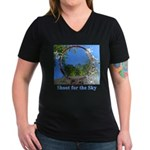 Shoot for the Sky Women's V-Neck Dark T-Shirt