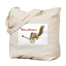 Merry Christmas Banjo Squirrel Tote Bag
