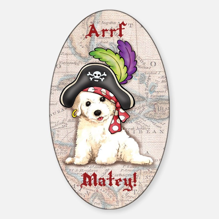 Bichon Pirate Oval Decal