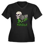 Nihilist Skull Women's Plus Size V-Neck Dark T-Shi