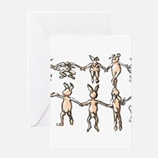 dancing bunnies in a circle Greeting Cards