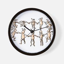 dancing bunnies in a circle Wall Clock