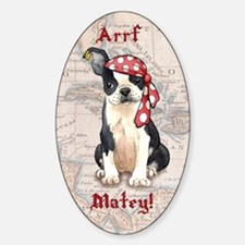 Boston Terrier Pirate Oval Decal