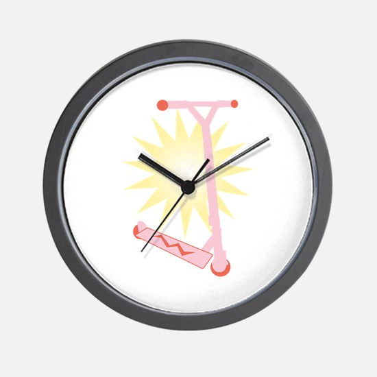 Pink Scooter Wall Clock