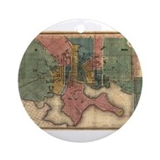 Map of Baltimore 1822. Ornament (Round)