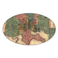 Map of Baltimore 1822. Oval Decal