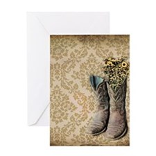 cowboy boots damask western country Greeting Cards
