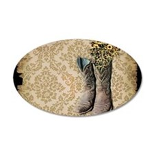 cowboy boots damask western country Decal Wall Sti