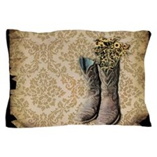 cowboy boots damask western country Pillow Case
