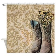 cowboy boots damask western country Shower Curtain