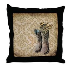 cowboy boots damask western country Throw Pillow