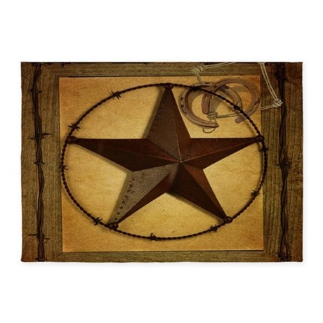 Charming Barn Wood Texas Star Western Fashion 5u0027x7u0027Area Rug
