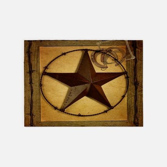 barn wood texas star western fashion 5'x7'Area Rug