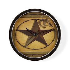 barn wood texas star western fashion Wall Clock