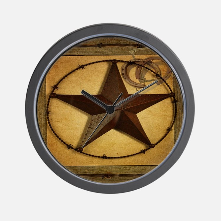 barn wood texas star western fashion Wall Clock