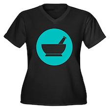 Aqua circle Women's Plus Size V-Neck Dark T-Shirt
