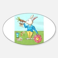 White rabbit blowing on carrot horn holding daisy