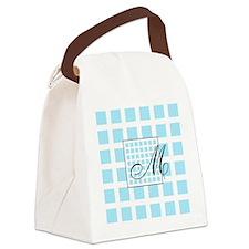 Custom Monogram Blue Pattern Canvas Lunch Bag