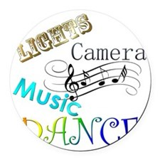 Lights Camera Music Dance Round Car Magnet