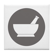 Gray Circle Mortar and Pestle Tile Coaster