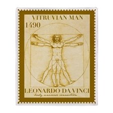 Vitruvian Man, Leonardo  Throw Blanket