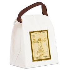 Vitruvian Man, Leonardo  Canvas Lunch Bag