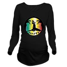 Haiti-Call-Rainbow.g Long Sleeve Maternity T-Shirt