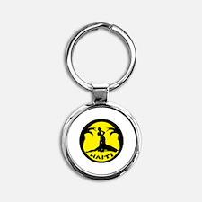 Haiti-Call-Yellow.gif Round Keychain