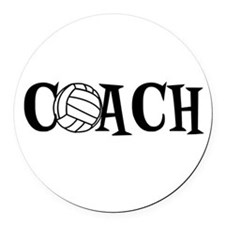 Volleyball Coach Round Car Magnet