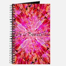 Life is Beautiful, Hot Pink Typography Ocean Waves