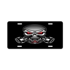 Skull With Gas Mask Aluminum License Plate