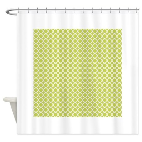 Retro Olive Green Circles Pattern Shower Curtain By Clipartmegamart