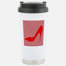 Red High Heels on Red and White Stripes Travel Mug