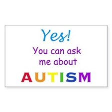 Ask Me About Autism! Rectangle Decal