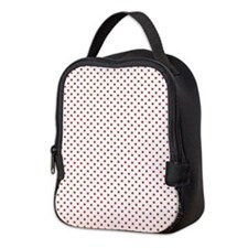White and Small Red Polka Dots Neoprene Lunch Bag