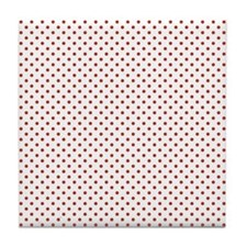 White and Small Red Polka Dots Tile Coaster