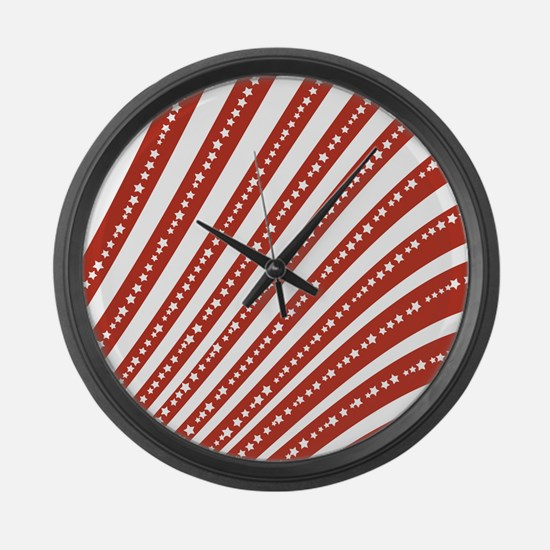 Red and White Stars and Stripes Large Wall Clock