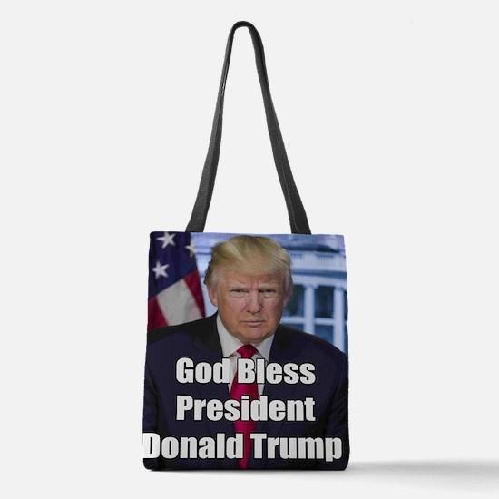God Bless President Donald Trump Polyester Tote Ba