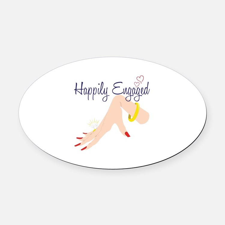 Happily Engaged Oval Car Magnet