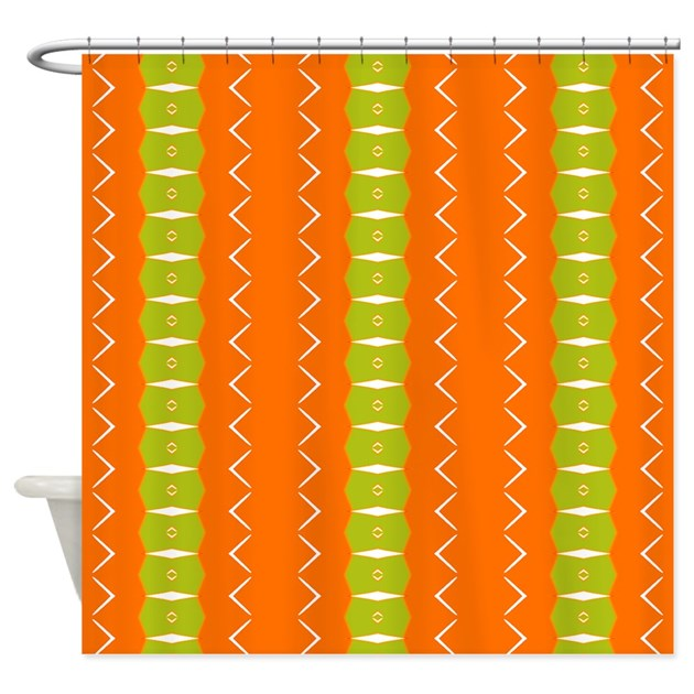 Orange And Green Wacky Pattern Shower Curtain By Patternedshop
