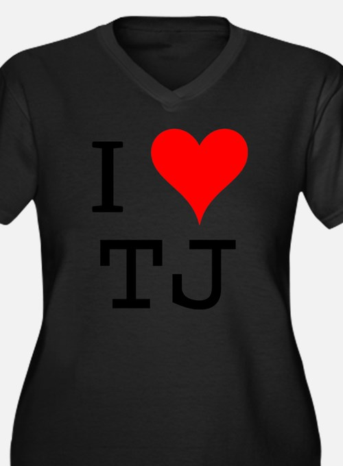 I Love TJ Women's Plus Size V-Neck Dark T-Shirt