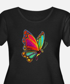 Rainbow Butterfly transparent Plus Size T-Shirt