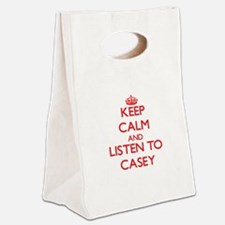 Keep Calm and Listen to Casey Canvas Lunch Tote