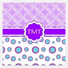 Butterflies Poker Dots Monogram Purple Invitations