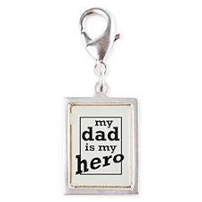 Dad Hero Silver Portrait Charm